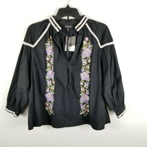 Topshop Women Blouse Top Flower Embroidered